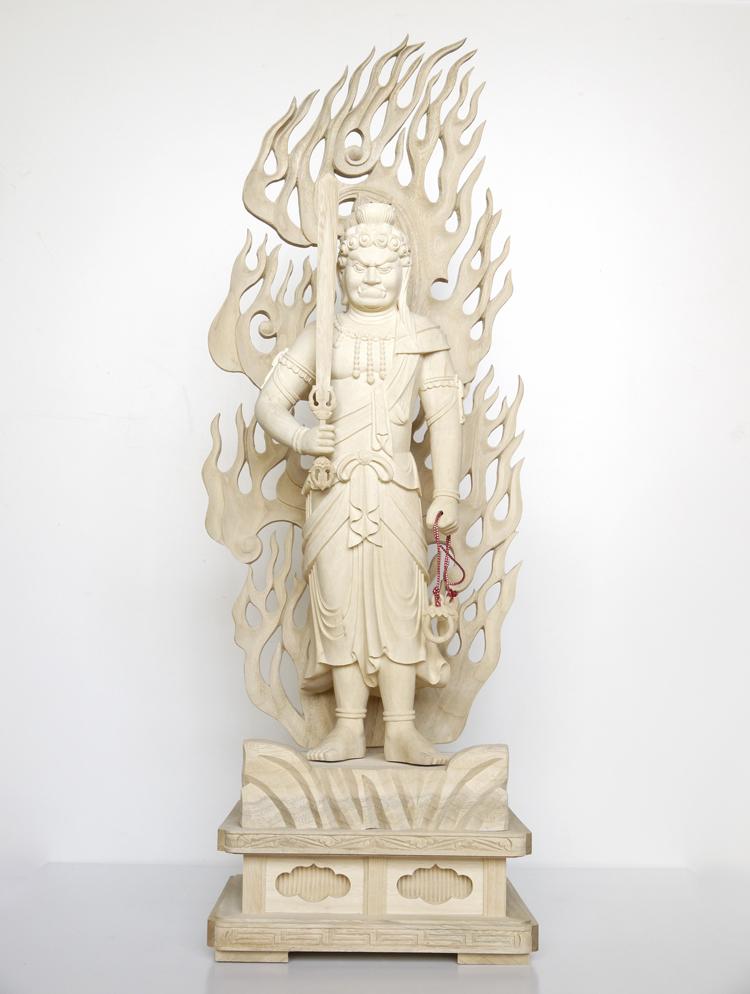 ~木彫り 仏像 不動明王~一刀彫 / 素材:楠