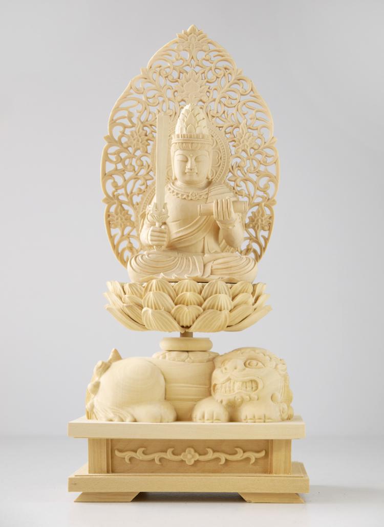 ~木彫り 仏像 文殊菩薩 騎獅像~仕様:無垢 / 素材:柘植