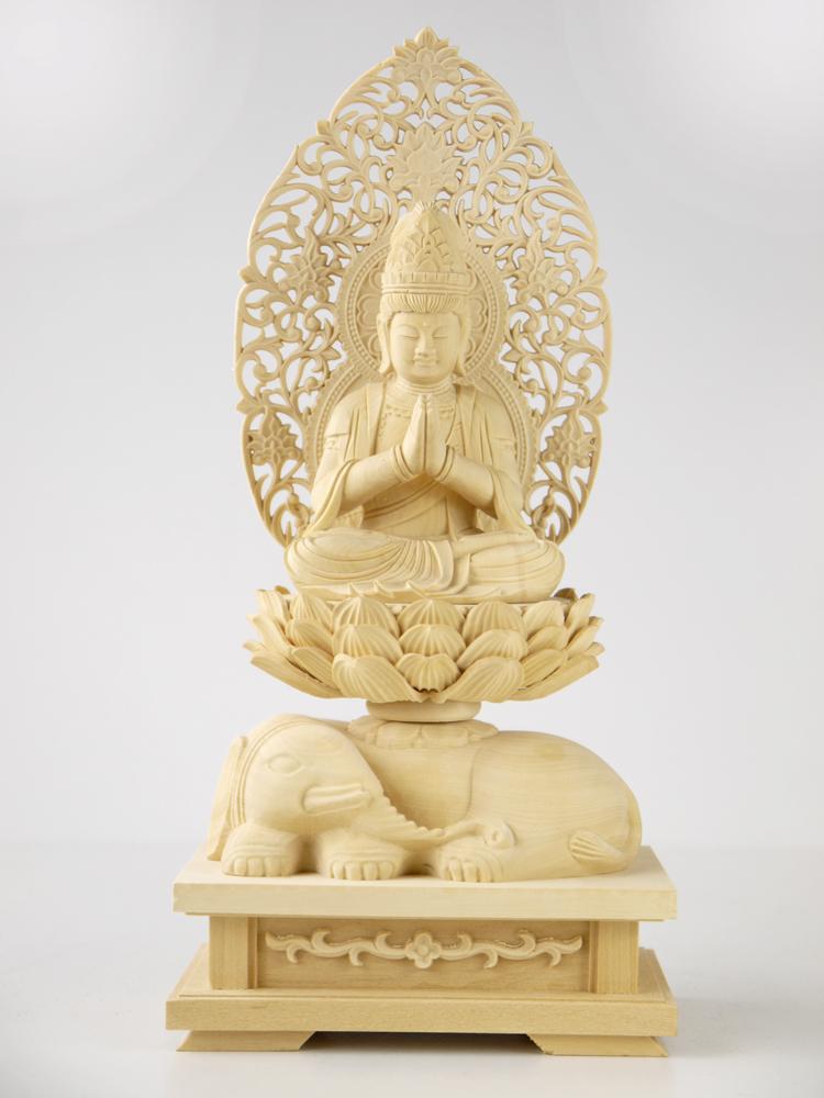 ~木彫り 仏像 普賢菩薩 騎象像~仕様:無垢 / 素材:柘植
