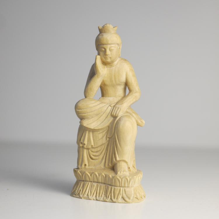 ~木彫り 仏像 弥勒菩薩~仕様:無垢 / 素材:柘植
