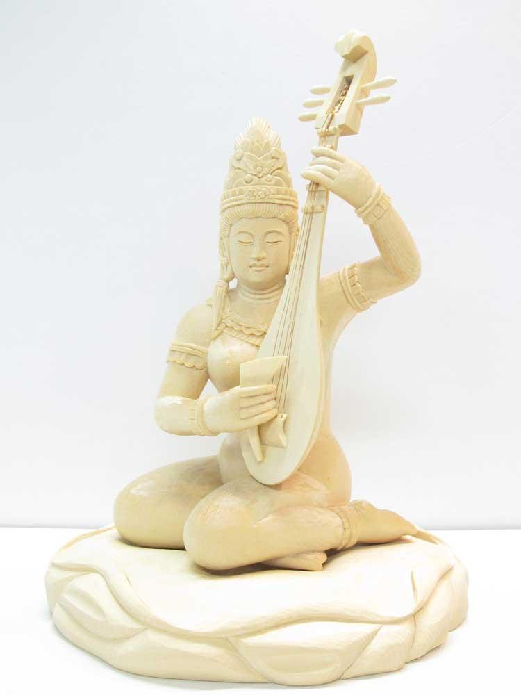 ~木彫り 仏像 弁才天~仕様:無垢 / 素材:桧