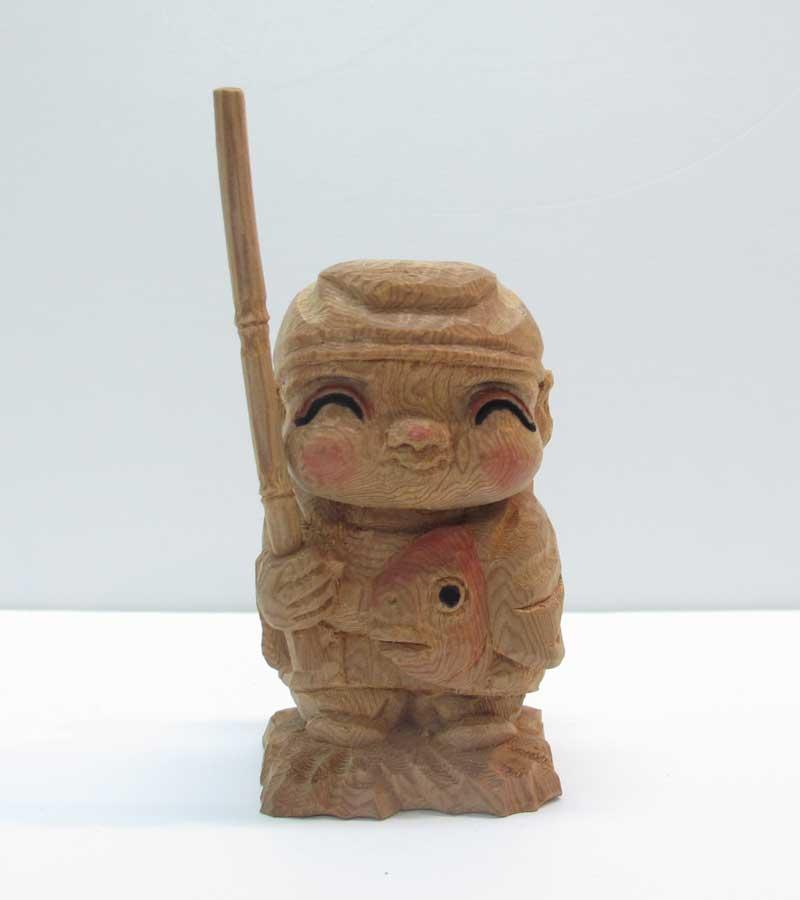 ~木彫り ほほえみ恵比寿~一刀彫 / 素材:屋久杉(置物)