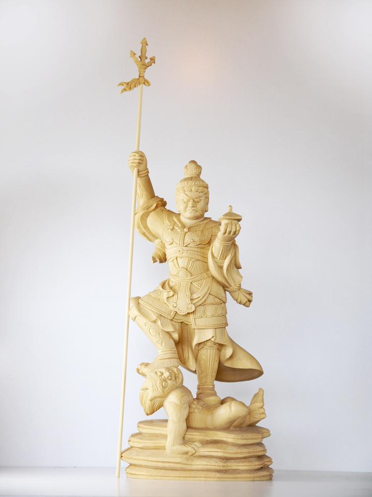 ~木彫り 仏像 毘沙門天~一刀彫 / 素材:桧