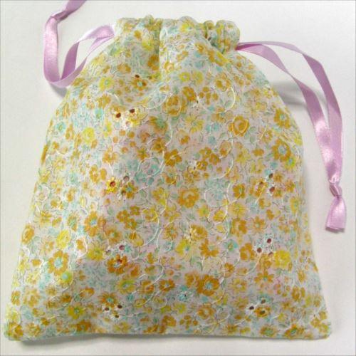 かわいい抗菌巾着袋花柄ピンク