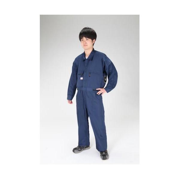 エスコ(esco) [4L] 空調継ぎ作業服(送風ファン付/長袖ネイビー EA996AM-125 1セット