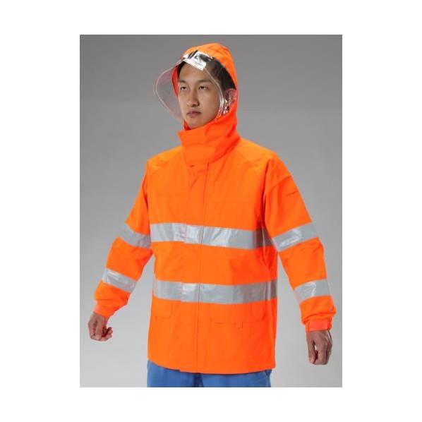 エスコ(esco) [M] 高視認性透湿型レインジャケット(オレンジ) EA996XK-6 1個
