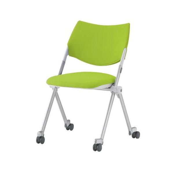 エスコ(esco) 折畳み椅子(キャスター付/グリーン) EA956XE-32 1個