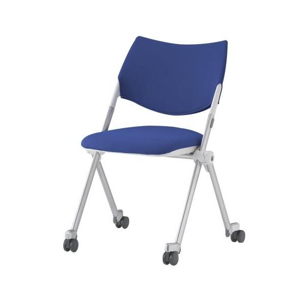 エスコ(esco) 折畳み椅子(キャスター付/ブルー) EA956XE-33 1個