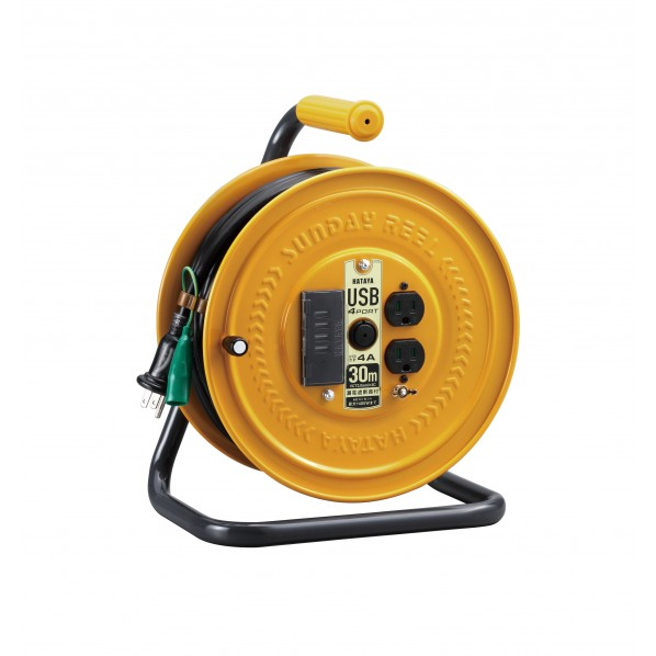 ハタヤリミテッド USBポート付コードリール H355mmxW275mmxD208mm GSB-30U4K 1台