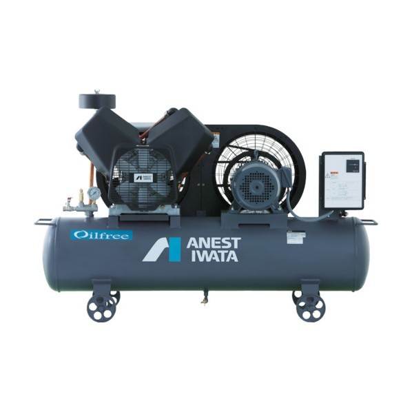 アネスト岩田 レシプロコンプレッサ(タンクマウント・オイルフリータイプ)50Hz 1000 x 420 x 960 mm TFP15CF-10M5