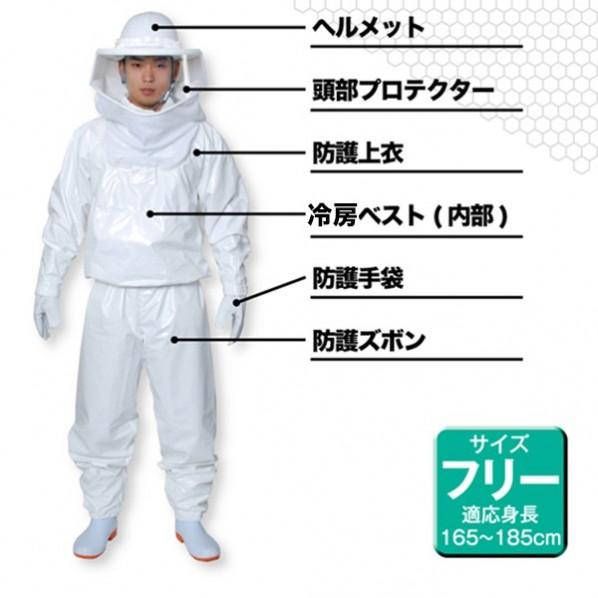 緑十字 蜂防護服 ラプターIII(手袋セット) 375440 1着