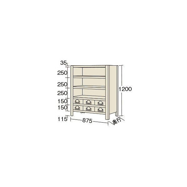 サカエ 物品棚KW型(100kg/段・高さ1200mm・6段タイプ) KW81166 1台