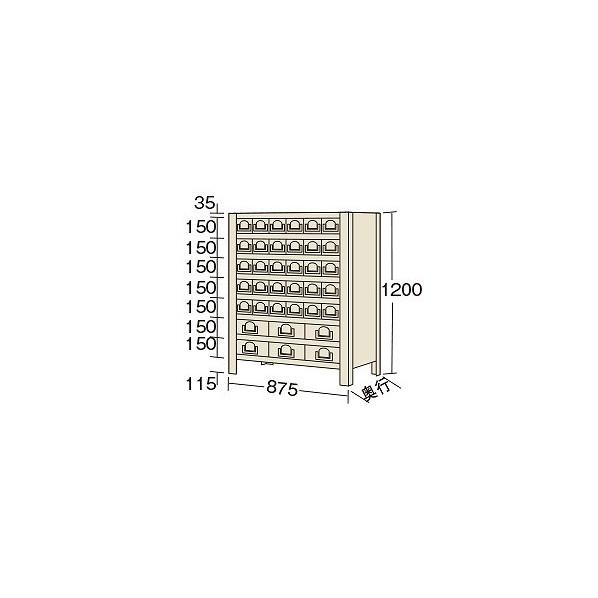 サカエ 物品棚KW型(100kg/段・高さ1200mm・8段タイプ) KW811836 1台