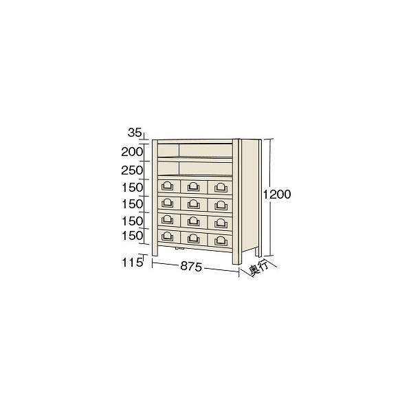 サカエ 物品棚KW型(100kg/段・高さ1200mm・7段タイプ) KW812712 1台