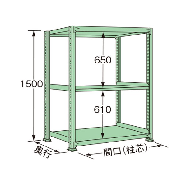 扶桑金属工業 中量ラック 超人気 『4年保証』 1490×450×1500mm ML1515M03T 1点 グリーン