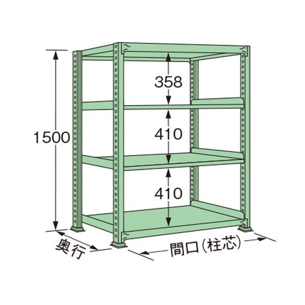 扶桑金属工業 中量ラック 1800×450×1500mm グリーン MG1518M04T 1点