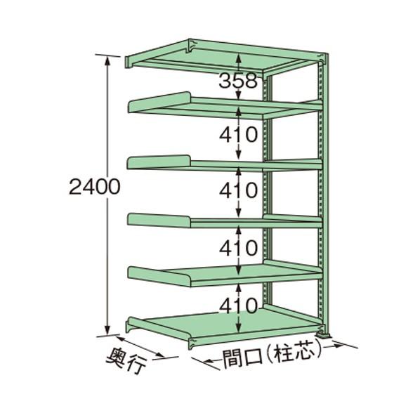 MM2418M06R 1点 扶桑金属工業 中量ラック グリーン 1800×450×2400mm