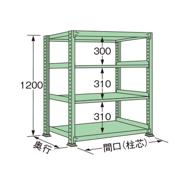 扶桑金属工業 定番キャンバス 中量ラック 1490×300×1200mm グリーン 新作からSALEアイテム等お得な商品満載 1点 ME1215S04T