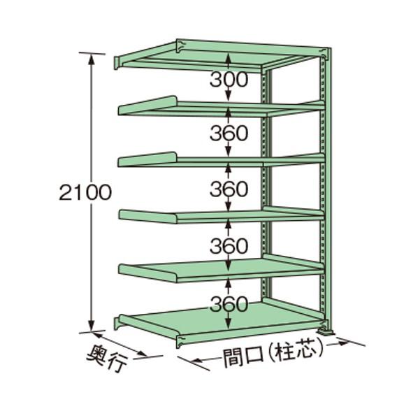 扶桑金属工業 購入 中量ラック 1190×300×2100mm 1点 グリーン 大幅にプライスダウン ME2112S06R