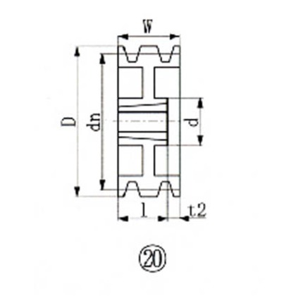 EVN ブッシングプーリー SPB 250mm 溝数4  SPB250-4