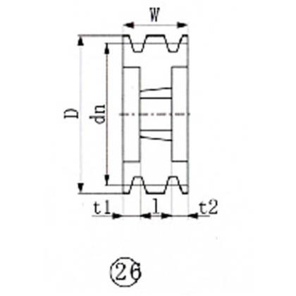 EVN ブッシングプーリー SPB 250mm 溝数6  SPB250-6