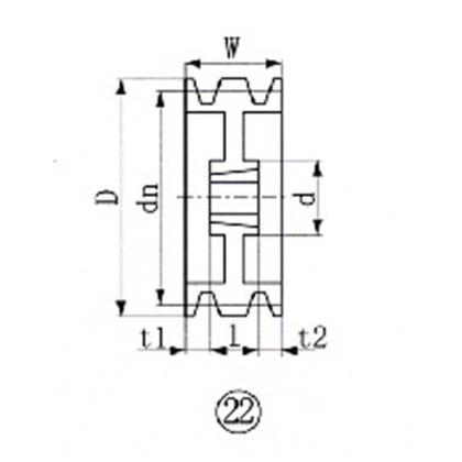 EVN ブッシングプーリー SPB 280mm 溝数5  SPB280-5
