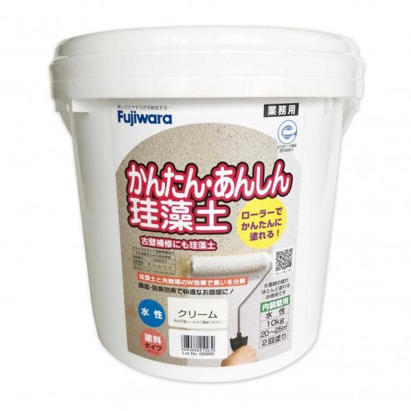 フジワラ化学 ローラーで塗れるかんたん あんしん 珪藻土 通販 6坪用 10kg リフォーム 6220300 diy クリーム 壁材 迅速な対応で商品をお届け致します 1点