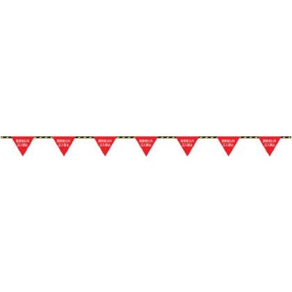緑十字 標識ロープ-6 フラッグ標識ロープ関係者以外立入禁止6mmΦ×20m(280三角) 281006