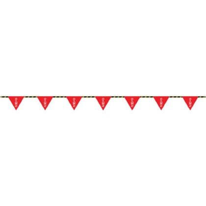 緑十字 標識ロープ-8 フラッグ標識ロープ立入禁止6mmΦ×20m(280mm三角) 281008