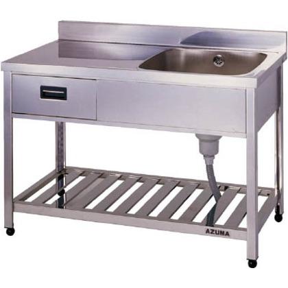 アズマ 引出し付一槽水切シンク右水槽1200×600×800 HPOM1-1200-R