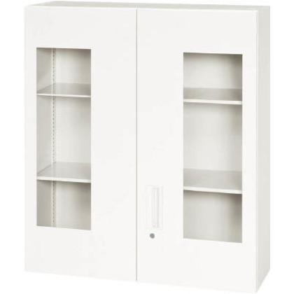 ダイシン 壁面収納庫窓付き両開き型上置き専用D310ホワイト V930-10HG