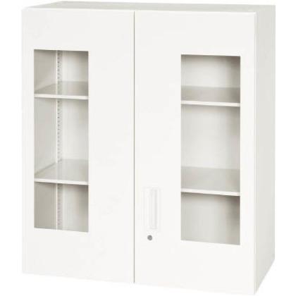 ダイシン 壁面収納庫窓付き両開き型上置き専用D400ホワイト V940-10HG