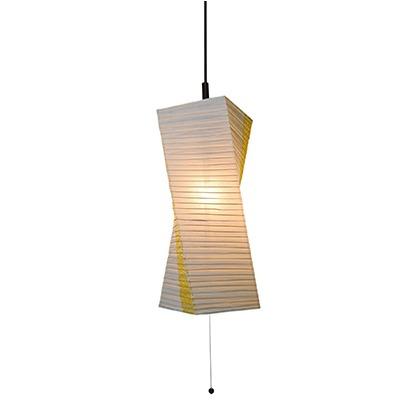 彩光デザイン 和風照明1灯ペンダントライト 楮紙茶×麻葉菜種 W200mm×D200mm×H550mm SPN1-1004