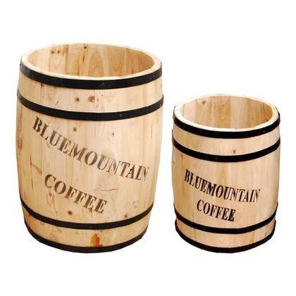 住まいスタイル コーヒーバレル大小 ナチュラル CB-233040NS 木製プランター ウッドプランター 1セット