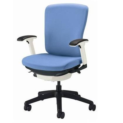 バーサル オフィスチェアー アクアブルー 奥555~605mm×幅640mm×高902~992mm No.3512F-K オフィスチェアー 事務用チェアー 事務用椅子 イス 75148