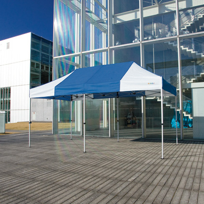 かんたんてんと3(スチール&アルミ複合フレーム) 水色(オプション色) 2.4m×4.8m KA/5W テント ワンタッチ イベント