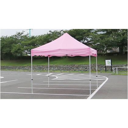 かんたんてんと3メッシュタイプ(スチール&アルミ複合フレーム) ピンク 2.4m×4.8m KA/6WM テント ワンタッチ イベント
