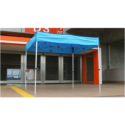 かんたんてんと3メッシュタイプ平屋根(スチール&アルミ複合フレーム) ブルー 2.4m×2.4m KA/3WMF テント ワンタッチ イベント