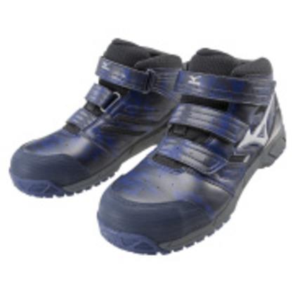 ミズノ 作業靴 オールマイティLSミッドカットタイプ ネイビー×シルバー×ブラック 26.5cm C1GA180214265