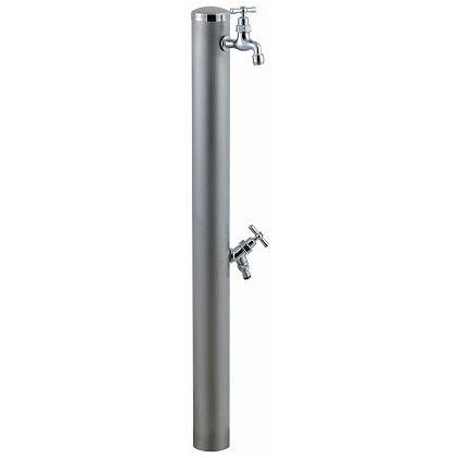 SENSUI(泉水) ステンレスキャップ ストレートハンドル ウォーターポール2口 ヘアライン φ76.3×H1180mm 351H ガーデン水栓
