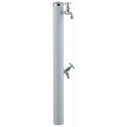 SENSUI(泉水) ステンレスキャップ ストレートハンドル ウォーターポール2口 ホワイト φ76.3×H1180mm 351W ガーデン水栓