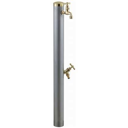SENSUI(泉水) 真鍮キャップ ストレートハンドルウォーターポール2口 ヘアライン φ76.3×H1180mm 352H ガーデン水栓