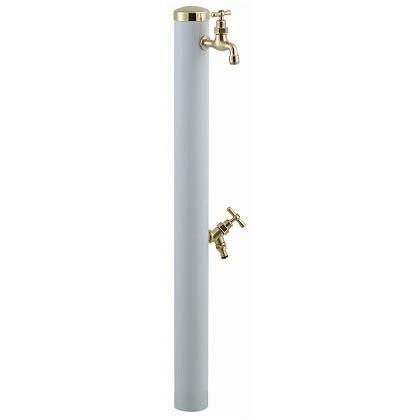 SENSUI(泉水) 真鍮キャップ ストレートハンドルウォーターポール2口 ホワイト φ76.3×H1180mm 352W ガーデン水栓