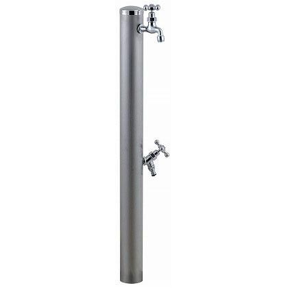 SENSUI(泉水) ステンレスキャップ クロスハンドル ウォーターポール2口 ヘアライン φ76.3×H1180mm 353H ガーデン水栓
