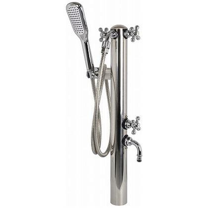 【はこぽす対応商品】 φ60.5×H915mm ペットシャワー混合水栓柱2口(横フック付) ONLINE FACTORY 605G-3 鏡面 SHOP SENSUI(泉水) ガーデン水栓:DIY-エクステリア・ガーデンファニチャー