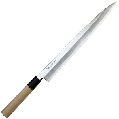 関兼常 本匠 兼正 Gシリーズ 霞研 水牛口付 朴柄 和包丁 柳刃 全長285mm、刃渡り150mm G-05