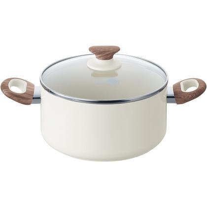 グリーンパン・ジャパン ウッドビー キャセロール 蓋付き ホワイト 20cm 1503-000104 両手鍋・セラミックコーティングフライパン・グリーンパン