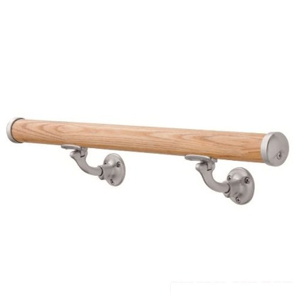 Asano 木製壁付手摺 自在L型ブラケット仕様(鏡面) φ35×3M AK43942M-30