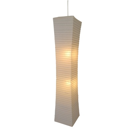 彩光デザイン 日本製和紙照明 大型和風照明 吹き抜け用ペンダントライト sword 揉み紙 W300mm×D300mm×H1460mm SDPN-205