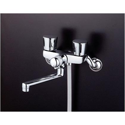 KVK 一時止水付2ハンドルシャワー(フルメタルヘッド・メタリックホース) KF141EX 混合水栓